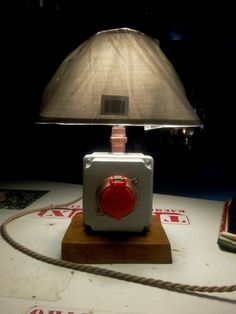 Handmade  table  lamp Industrial Wooden base Twisted  fabric  cable