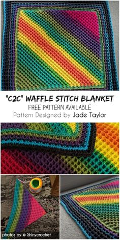 Crochet Afghans Ideas Corner To Corner Waffle Stitch Blanket Idea Crochet Afghans, C2c Crochet Blanket, Crochet Baby Blanket Free Pattern, Crochet Quilt, Granny Square Crochet Pattern, Crochet Stitches Patterns, Blanket Stitch, Crochet Squares, Crochet Blankets