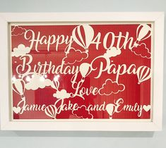 Excited to share the latest addition to my shop: Happy Birthday Ballon Papercut Frame Happy 40th Birthday, Paper Cutting, Neon Signs, Etsy Shop, Unique Jewelry, Handmade Gifts, Frame, Kid Craft Gifts, Picture Frame
