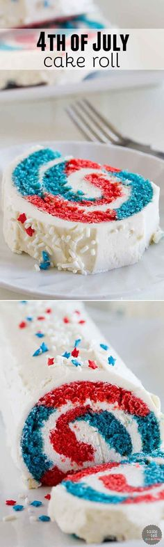 Show off your red white and blue with this festive of July Cake Roll. Your g… Show off your red white and blue with this festive of July Cake Roll. Your guests will be amazed when you cut into it, revealing the patriotic colors. 4th Of July Cake, 4th Of July Desserts, Fourth Of July Food, 4th Of July Party, Holiday Desserts, Holiday Treats, Holiday Recipes, July 4th, Patriotic Desserts