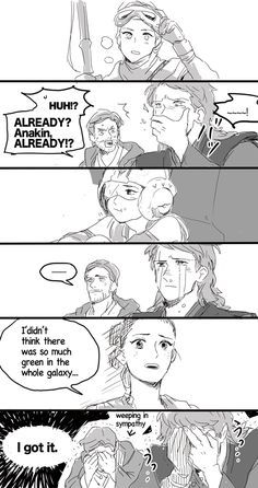 Anakin and Obi-Wan's reactions to Rey.