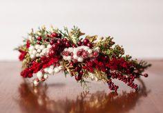 Holiday Flower Crown - Rustic Halo - Flowergirl hairpiece - Summer Wedding - Newborn Photo Prop - Wedding Crown - Floral Hairpiece by LittleLadyAccessory on Etsy https://www.etsy.com/uk/listing/251040818/holiday-flower-crown-rustic-halo
