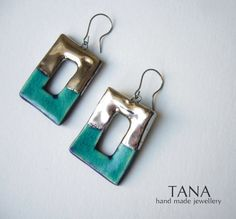 Ceramic earrings, frame shape, turquoise and platine. Boucles d'oreilles