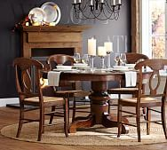 Napolean chair with rush seat and Tivoli extending round dining table. Tuscan Chestnut finish on each.