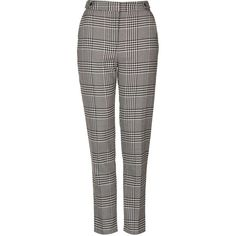 TOPSHOP TALL Blurred Check Cigarette Trousers ($56) ❤ liked on Polyvore featuring pants, monochrome, patterned trousers, black cigarette pants, patterned pants, cigarette pants and black trousers