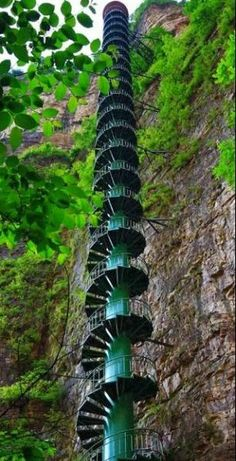 Amazing Snaps: A jawdropping 300-foot staircase along a mountain face in the Taihang Mountains in Linzhou, China.