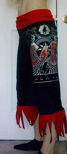 AC/DC Capris Capri Pants Heavy Metal Womens by DarkStormClothing, $38.00