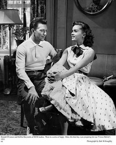 """Debbie Reynolds and Donald O'Connor on the set """"I Love Melvin"""" 1953 MGM Golden Age Of Hollywood, Vintage Hollywood, Hollywood Stars, Classic Hollywood, Debbie Reynolds Carrie Fisher, Donald O'connor, Old Movie Stars, Singing In The Rain, Actrices Hollywood"""