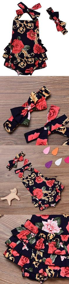LOliSWan Baby Girl's Floral Print Ruffles Romper Summer Clothes With Headband (Black, 0-6 Months) https://presentbaby.com