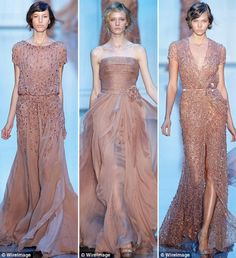 So beautiful - I love the dress on the far right. Elie Saab via michikodaydreams.com.