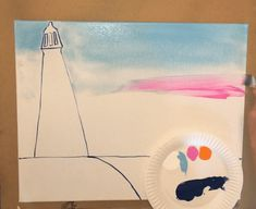 How To Paint A Lighthouse Sunset - Tracie's Acrylic Canvas Tutorials Cute Canvas Paintings, Canvas Art, Painting Lessons, Art Lessons, Lighthouse Painting, Acrylic Tutorials, Step By Step Painting, Beginner Painting, Acrylic Canvas