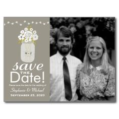 Mason Jar Save the Date Postcards Save money without sacrificing style with our wedding save the date postcards with your custom photos! See them all at www.tropicalpapers.com #savethedate #weddingsavethedates #savethedates