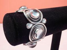 Vintage Unusual Fred Davis Sterling Silver Glass Cuff Bracelet Modernist Taxco #FredDavis