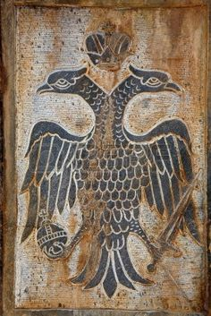 Two haeded stone eagle relief, symbol of Byzantine empire or East Roman Empire Stock Photo