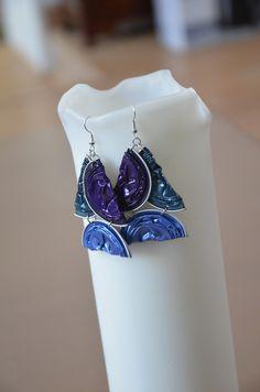 Boucles d'oreilles trio demi-lune bleu en Capsules Nespresso