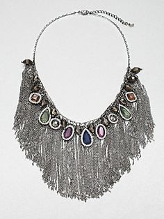 ABS Jeweled Fringe Bib Necklace