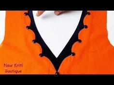 Hi Friends, Latest creative neck design with easy way, Beautiful Kurti front neck design. Churidhar Neck Designs, Neck Designs For Suits, Dress Neck Designs, Fancy Blouse Designs, Blouse Neck Patterns, Saree Blouse Neck Designs, Salwar Kameez Neck Designs, Kurta Neck Design, Party Wear Indian Dresses
