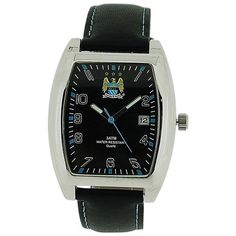 Manchester City FC Mens Black Dial Calendar Leather Strap Football Watch GA3762