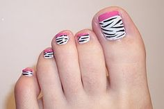 zebra toes, on the other toe do pink with zebra tips