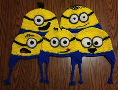 Crochet Minion Earflap Hats [NOTE: pattern can be emailed if email is left in a comment (a repin would also be appreciated)-- if comments aren't posting, email me at: dr_time17@yahoo.com]