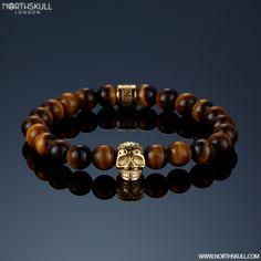 Northskull tiger-eye and gold bracelet