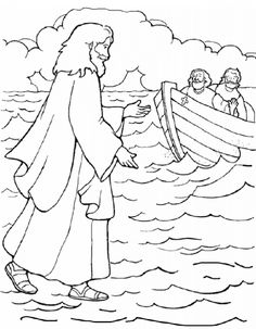 walking on water coloring pages - photo#12