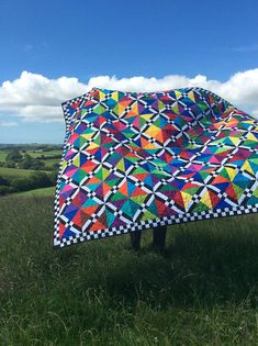 My Chequered Lattice Quilt. I look the photo on top of Poorton, Dorset - Devi Chapman Longarm Quilting, Quilting Projects, Quilting Designs, Bright Quilts, Colorful Quilts, Lattice Quilt, Rainbow Quilt, Half Square Triangle Quilts, Quilt Border
