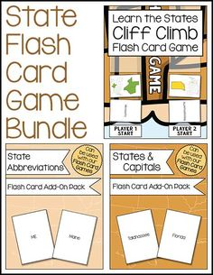 Kids can learn the 50 states plus their capitals and abbreviations in a fun way with this flash card game bundle.