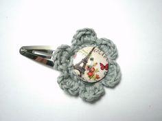 Barrette enfant fille pince clic-clac bouton Tour Eiffel Paris fleur crochet