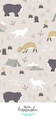 Into the wild - woodland textile pattern design. woodland wolf deer bear tent ca. Woodland Illustration, Wolf Illustration, Mountain Illustration, Pattern Illustration, Illustration Children, Textile Pattern Design, Surface Pattern Design, Textile Patterns, Pattern Art