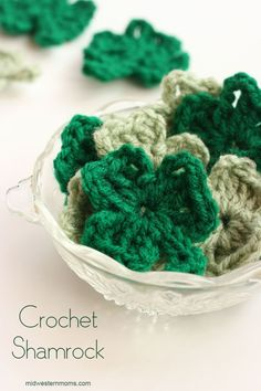 These Crochet Shamrocks are perfect for St. Patrick's Day! The pattern is easy and the shamrocks can be made in a matter of minutes. String them up for a cute Shamrock Garland.