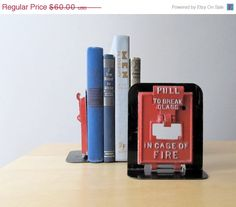 fire alarm bookends repurposed vintage fire door industrial salvage