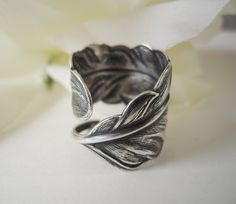 Steampunk Angel Feather Ring Sterling Silver Finish by bellamantra, $25.00 on Etsy.