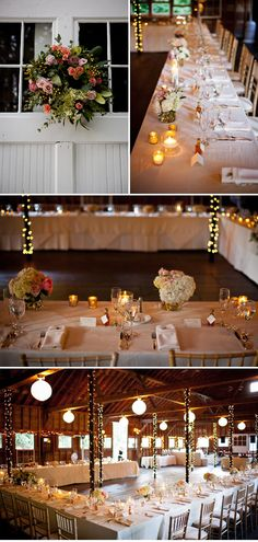 the table is set up so everyone can see one another with dance floor in the middle - cool idea for a smaller wedding in a large space
