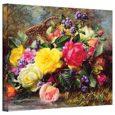 'Roses from a Victorian Garden' by Albert Williams Canvas Painting Print
