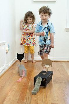 Cajas de zapatos convertidos en perritos