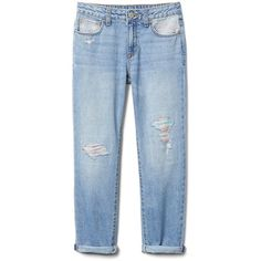 Rainbow Girlfriend Jeans with Rip Repair Detailing (€37) ❤ liked on Polyvore featuring jeans, rainbow jeans, destruction jeans, distressing jeans, blue distressed jeans and blue jeans