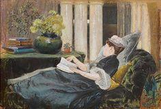 Louise Tiffany lendo, 1888 Louis Comfort Tiffany (EUA, 1848-1933) [Filha do artista] óleo sobre tela Metropolitan Museu, Nova Yo...