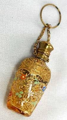 Antique Perfume Scent Bottle ~ Painted mostly in Gold w/Ornate Scrolls, Flowers & Foliage on a Chatelaine Chain