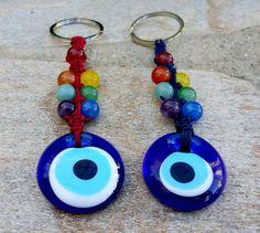 Evil Eye Keychain 7 Chakras Keychain Macrame by MalaLovebeads