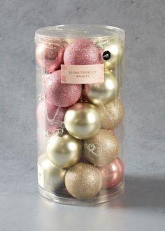 20 Pack Shatterproof Christmas Tree Baubles – Pastel Pink – Matalan