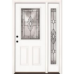 Feather River Doors 50.5 in. x 81.625 in. Sapphire Patina 1/2 Lite Unfinished Smooth Fiberglass Prehung Front Door with Sidelite, Smooth White: Ready To Paint