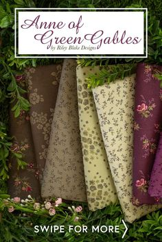 Anne of Green Gables is a beautiful collection by Riley Blake Designs. 100% cotton. Shabby Fabrics, Anne Of Green Gables, Riley Blake, Quilting, Beautiful, Cotton, Design, Collection