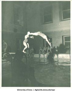 Tandem diving, University of Iowa, 1930s | University of Iowa Physical Education for Women | Iowa Digital Library