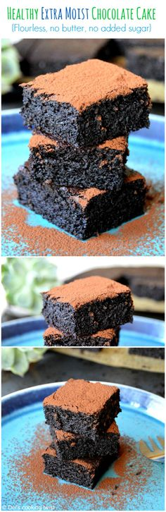 Healthy Desserts Ideas : Illustration Description No sugar, butter or flour in this incredibly moist chocolate cake. Yes, healthy can taste like heaven! No Sugar Desserts, No Sugar Foods, Gluten Free Desserts, Dessert Recipes, No Sugar Diet, Low Sugar, Healthy Deserts, Healthy Sweets, Healthy Baking