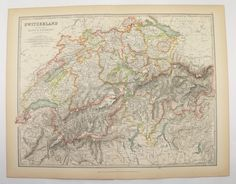 Antique Switzerland Map 1905 Vintage Map of Switzerland, Swiss Alp Mountains, Mountain Climbing Gift for Couple, Swiss Decor Gift for Her available from OldMapsandPrints.Etsy.com #Switzerland #SwissAlps