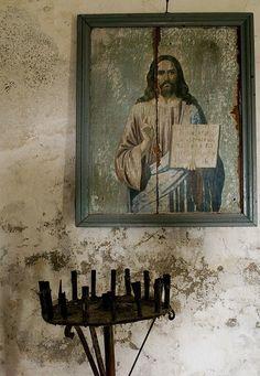 weathered Jesus painting...... Love!