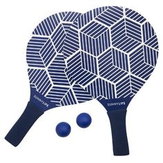 Have fun in the sun with these cool blue and white beach paddles from Sunnylife! This beach tennis set comes in a carry bag and includes two hardwood bats, sporting non-slip neoprene handles and two rubber balls. Tennis Set, Beach Tennis, Sunnylife, Gifted Kids, Us Beaches, Summer Essentials, One Kings Lane, Color Splash, Navy And White