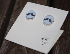"""2 Ohrstecker Holz """" Mustache """" von Wiesenfuchs auf DaWanda.com"""