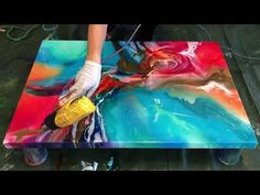 Resin painting demo of 'Hummingbird' Flow Painting, Acrylic Painting Lessons, Painting & Drawing, Pour Painting, Acrylic Pouring Art, Acrylic Art, Abstract Canvas Art, Art Techniques, Resin Art